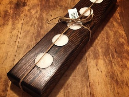Handmade Wood Five Tea Light Holder